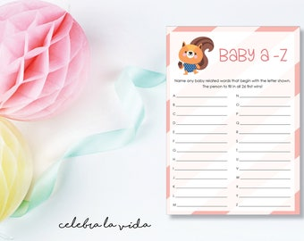 Baby A-Z. Baby Shower Game. Instant Download. Printable Baby Shower Baby Girl Game. Pink