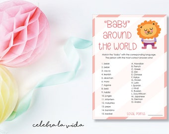 Baby Around the World. Baby Shower Game. Instant Download. Printable Baby Shower Baby Girl Game with Answers. Pink