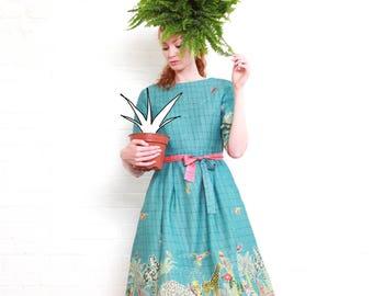 Blue Kew Gardens Border Print Organic Cotton Summer Dress