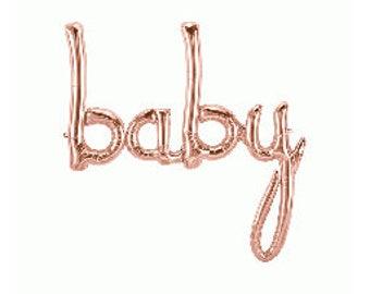 "Rose Gold ""baby"" Script Balloon // 46"""