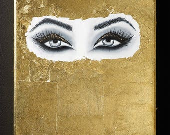 Golden eyes acrylic painting with gold leaf