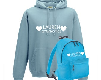 iLeisure Girls Personalised Two Hearts Gymnastics with Name Hoody and Gym Bag Bundle