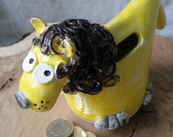 handmade pottery lion money box