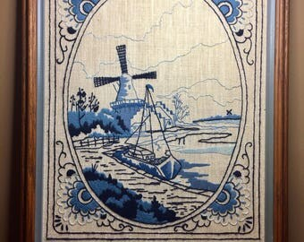 Framed Dutch Windmill Needlepoint