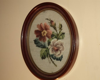 Vintage Oval embroidered wall hanging