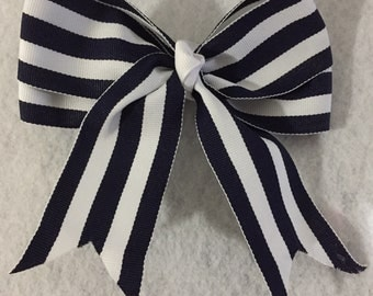 Navy Blue Striped Bow