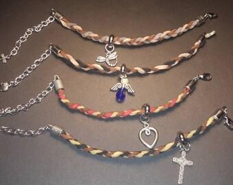 Suede braided charm bracelets