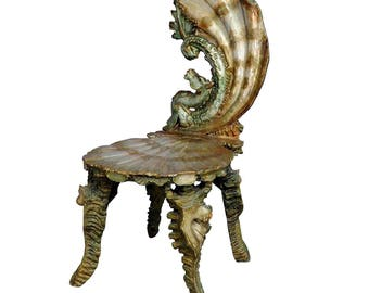 antique venetian carved grotto chair ca. 1880