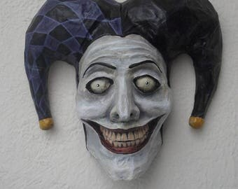Joker Mask, Harlequin, Jester, Paper Mache, Horror Art, Dark Art, Original Art, Wall Sculpture, Wall Hanging, Wall Art, Wall Decor