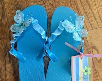 Blue Butterfly Flip Flops