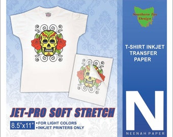 Neenah Jet Pro Soft Stretch Heat Transfer Paper for White/Light T-Shirts 5 Sheets (Pack)