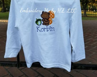 Squirrel shirt for kids/embroidered shirt/applique/fall shirt