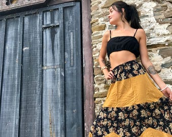 Vintage 90s skirt Maxi Boho Floral Mustard Grunge Triangle Hemline Gypsy Hippie Festival Hipster / Sandy Canyon Skirt