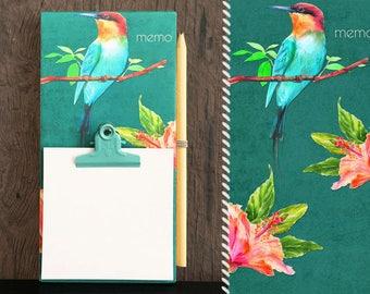 Notes memo Board / / tropical bird bird / / wood clipboard