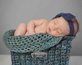 Newborn Digital Backdrop/Background Vintage Metal Basket with Headband and Blanket Overlay!