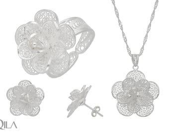 925 sterling silver jewelry set gardenia S25 filigree