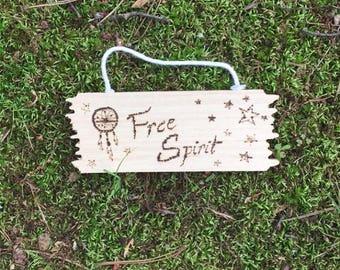 Free Spirit Dream Catcher and Stars Wood-burned Decor