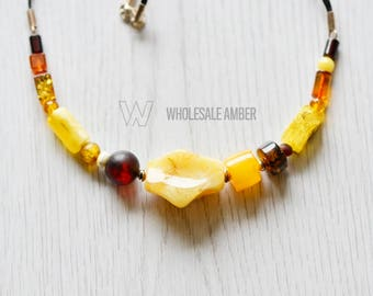 Amber necklace. Baltic amber natural beads. Amber necklace jewelry for adults. High quality, with certificate. MS15