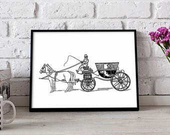 Carriage poster, Carriage wall art, Carriage wall decor, Carriage print