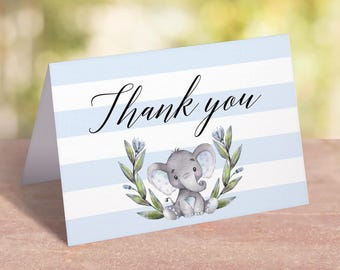 Baby Shower Thank You Cards Boy Elephant Theme Parties, Printable Thank You Cards Kids, Elephant Thank You Notes, Thank You Note Cards, LBE