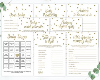 Gold Confetti Baby Shower Games Gold Baby Shower Confetti Baby Games Printable Baby Shower Games Gold Glitter Baby Shower Baby Bingo GCO