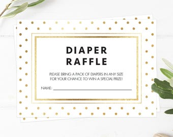 Printable Diaper Raffle Tickets Instant Download Baby Shower Diaper Raffle Card Printable Gold Confetti Baby Shower Modern Chic Download GD1