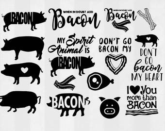 Bacon SVG Bundle, Bacon clipart, Bacon cut files, Bacon svg files for silhouette, Bacon files for cricut, pig svg, dxf, eps, cuttable design