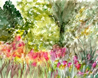 Impressionist Watercolor Greetings Card: Flowers in Wood, Marin County | JackieSMontagueArt
