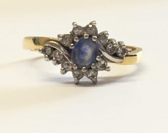 18ct Gold Pale Blue Sapphire And Diamond Engagement Ring