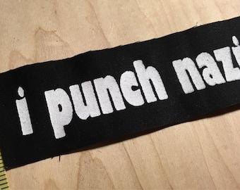 Anti-Swastika Anti-Trump I Punch Nazis Black and White Heavy Weight Woven Patch