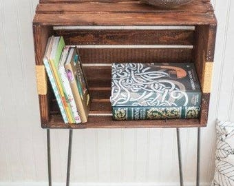 Wood crate Nightstand/table/stand with hair pin legs