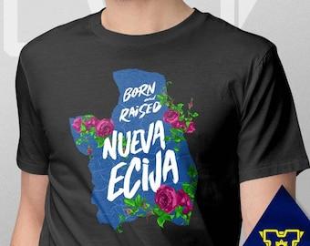001 -- Nueva Ecija -- Born & Raised -- S-6XL -- Philippines Themed Shirts -- Blue and White