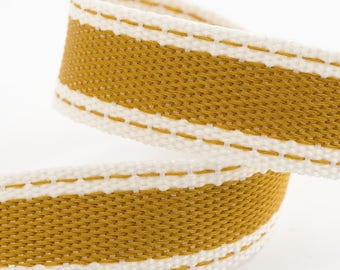 Ribbon - 15mm x 10m Cotton Twill Ribbon - Old Gold