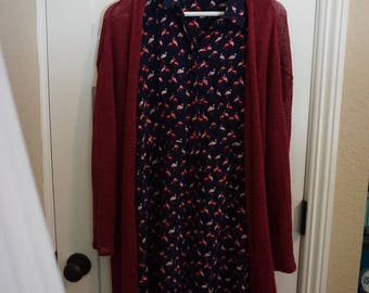 Tank dress and wine Cardigan