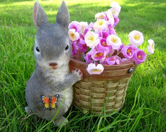 Cute Bunny Planter Brown Rabbit,Flower pot,Flower Basket Planter,Plant Pot Display LG170104
