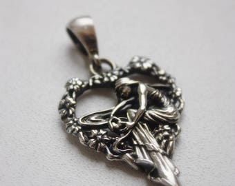 Pendant GIRL and Heart SILVER 925