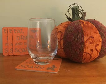 Halloween coasters, Eat, drink, and  be Scary coasters. Halloween party coasters. Coasters, Free shipping