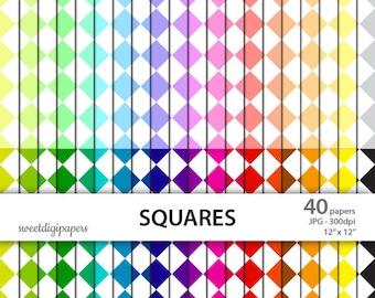 Squares Digital Paper, Squares Background, Squares Scrapbook, Colorful Digital Paper Pack, Squares Background, Squares Pattern