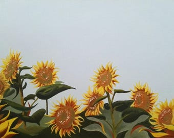 Small Sunflowers Landscape Painting Print