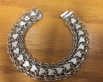 Sterling Silver Link Charm Bracelet with Hearts