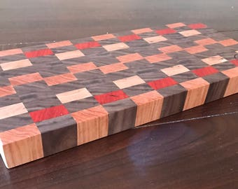 Walnut, Padauk, Maple, and Cherry Endgrain Cutting Board