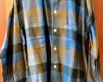 vintage dead stock 60s men's plaid shirt