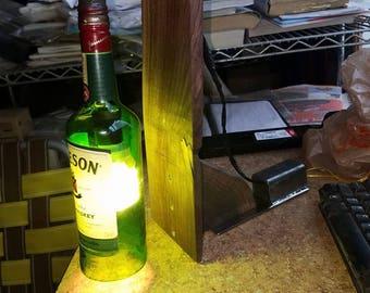 Custom made glass bottle lamp