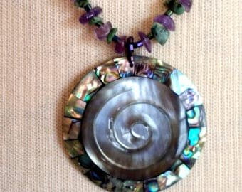Mother of Pearl Amethyst pendant necklace