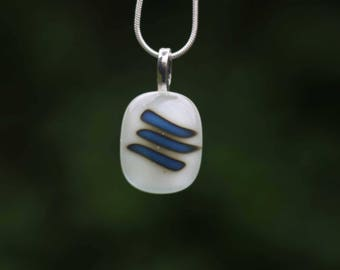 Glass fused pendant - reactive stripes