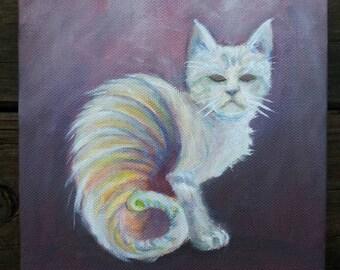 Rainbow Cat 6x6 Original Oil Painting Animal Art on canvas