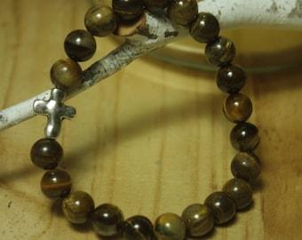 tigers eye cross bracelet