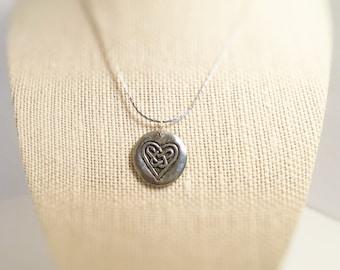 Necklace Heart, Celtic design / Love. Pendant.  Celtic heart. Hand stamped both sides.