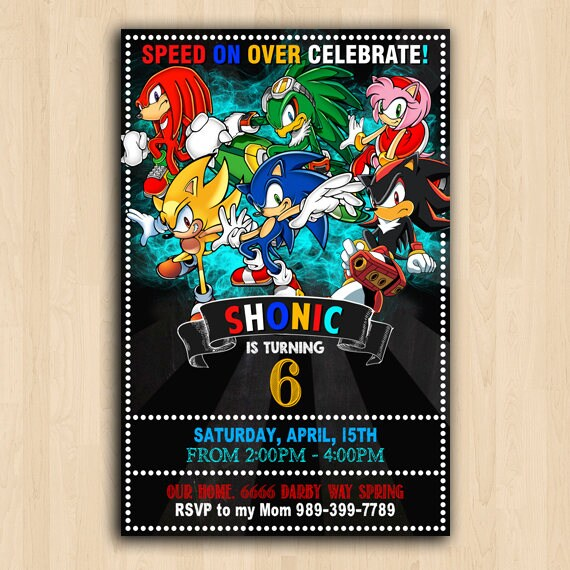 Sonic Invitation Sonic Birthday Sonic Personalized Sonic Birthday