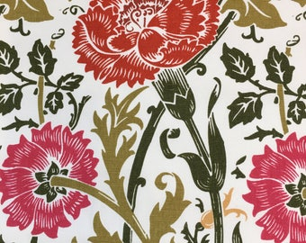 Floral Cotton Print On Off White Cotton Ground